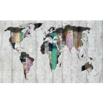 Fotobehang Papier Wereldkaart | Grijs, Groen | 254x184cm