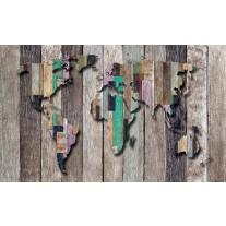 Fotobehang Papier Wereldkaart, Hout | Grijs, Bruin | 254x184cm