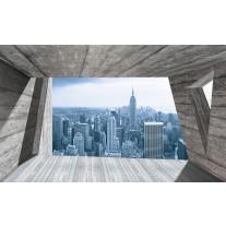 Fotobehang Papier Skyline, Modern | Blauw | 368x254cm