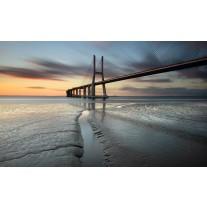 Fotobehang Papier Brug, Zee | Grijs | 254x184cm