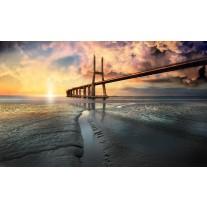 Fotobehang Papier Brug, Zee | Geel | 368x254cm