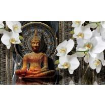 Fotobehang Papier Boeddha, Orchidee | Bruin | 254x184cm