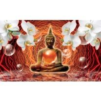 Fotobehang Papier Boeddha, Orchidee | Oranje | 368x254cm