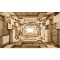 Fotobehang Papier 3D, Hout | Bruin | 254x184cm