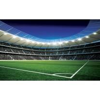 Fotobehang Papier Voetbalveld | Blauw, Groen | 368x254cm