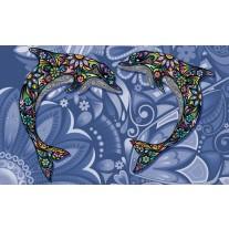 Fotobehang Papier Dolfijnen | Blauw | 254x184cm