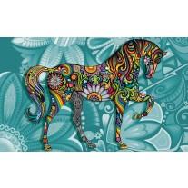Fotobehang Papier Paard | Turquoise | 254x184cm