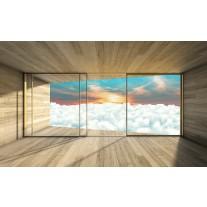 Fotobehang Papier Wolken, Modern | Blauw | 254x184cm