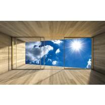 Fotobehang Papier Lucht, Modern | Blauw | 254x184cm