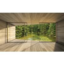 Fotobehang Papier Bos, Modern | Groen | 368x254cm