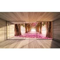 Fotobehang Papier Boom, Natuur | Roze | 254x184cm