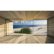 Fotobehang Papier Strand, Modern | Blauw | 254x184cm