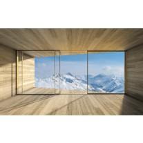 Fotobehang Papier Bergen | Blauw, Wit | 368x254cm