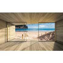 Fotobehang Papier Strand, Hout | Blauw | 254x184cm