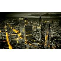 Fotobehang Papier Skyline, Nacht | Geel | 254x184cm