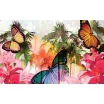 Fotobehang Papier Vlinder, Abstract | Roze | 368x254cm