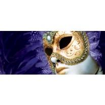 Fotobehang Masker | Paars, Goud | 250x104cm