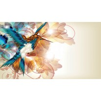Fotobehang Papier Vogel, Abstract   Crème   254x184cm