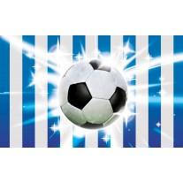 Fotobehang Papier Voetbal | Blauw, Wit | 254x184cm