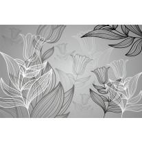 Fotobehang Papier Bloemen | Grijs | 254x184cm