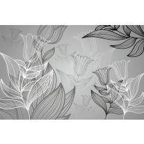 Fotobehang Papier Bloemen | Grijs | 368x254cm