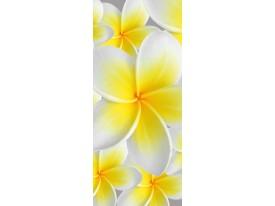 Deursticker Muursticker Bloemen | Geel, Wit | 91x211cm