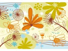 Fotobehang Bloemen | Groen, Oranje | 208x146cm