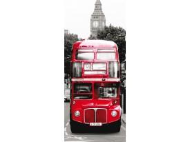 Deursticker Muursticker London, Bus | Rood | 91x211cm