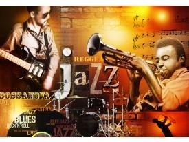 Fotobehang Muziek | Bruin, Oranje | 416x254