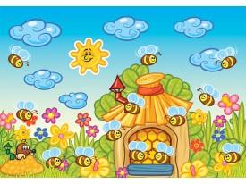 Fotobehang Vlies | Bijen | Blauw, Geel | 368x254cm (bxh)