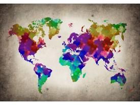Fotobehang Vlies | Wereldkaart | Paars, Geel | 368x254cm (bxh)