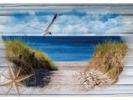 Fotobehang Vlies | Strand | Blauw, Grijs | 368x254cm (bxh)
