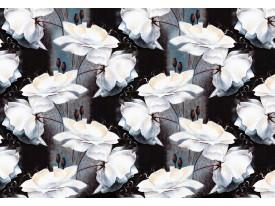 Fotobehang Vlies | Bloemen | Wit, Zwart | 368x254cm (bxh)