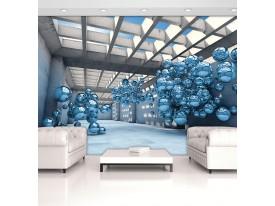 Fotobehang Modern 3D Blue Spheres Architecture View