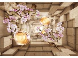 Fotobehang Vlies | Bloemen, 3D | Paars | 368x254cm (bxh)