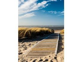 Fotobehang Papier Strand | Bruin, Blauw | 184x254cm