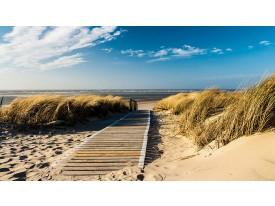 Fotobehang Vlies | Strand | Blauw, Crème | 368x254cm (bxh)