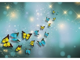 Fotobehang Vlies | Vlinder | Blauw, Geel | 368x254cm (bxh)