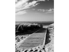 Fotobehang Papier Strand | Zwart, Wit | 184x254cm