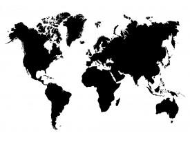 Fotobehang Vlies | Wereldkaart | Wit, Zwart | 368x254cm (bxh)