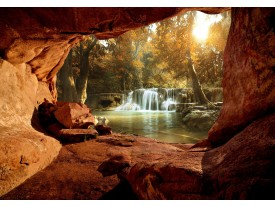 Fotobehang Vlies | Waterval, Natuur | Bruin | 368x254cm (bxh)