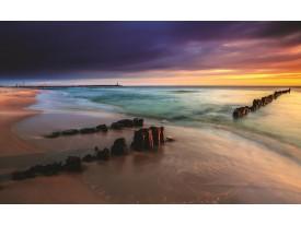 Fotobehang Vlies | Strand, Zee | Grijs | 368x254cm (bxh)