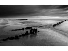 Fotobehang Strand, Zee | Grijs, Zwart | 208x146cm