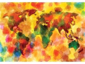 Fotobehang Vlies   Wereldkaart   Geel, Rood   368x254cm (bxh)