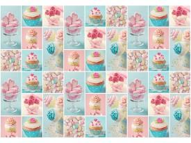 Fotobehang Vlies | Snoepjes | Blauw, Roze | 368x254cm (bxh)