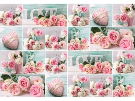 Fotobehang Vlies | Rozen | Roze, Groen | 368x254cm (bxh)