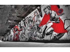 Fotobehang Vlies | Graffiti  | Zwart, Rood | 368x254cm (bxh)