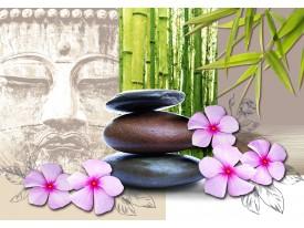 Fotobehang Boeddha | Groen, Crème | 416x254