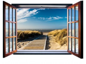 Fotobehang Strand, Diepte | Blauw |