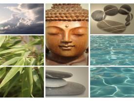 Fotobehang Boeddha | Grijs | 208x146cm
